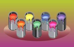 Pinte el arco iris de las latas ilustración del vector