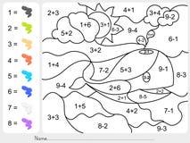 Pinte el color por números de la adición y de la substracción libre illustration