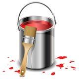 Pinte el cubo con la brocha Imagen de archivo libre de regalías