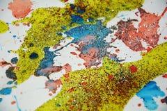Pinte el fondo ceroso violeta azul verde del oro amarillo, diseño creativo fotos de archivo libres de regalías