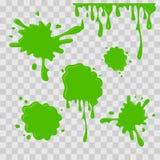 Pinte a ilustração abstrata da gota Limo verde no fundo transparente quadriculado Estilo liso Grupo do vetor Imagem de Stock