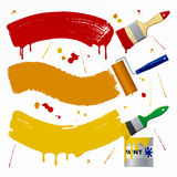 Pinte las herramientas, el cepillo y el rodillo Imagen de archivo