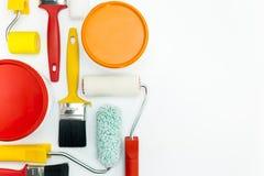 Pinte las herramientas en el fondo blanco Fotografía de archivo