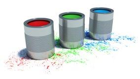 Pinte las latas en el fondo blanco Concepto del RGB Fotografía de archivo