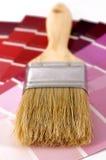 Pinte las muestras del color con el cepillo Imagen de archivo libre de regalías