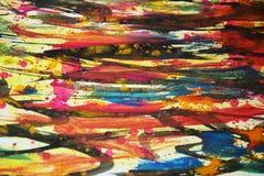 Pinte los colores calientes de la acuarela, contrastes, fondo creativo de la pintura cerosa Imagen de archivo libre de regalías