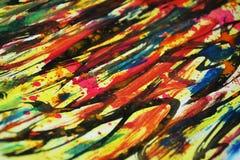 Pinte los colores vivos calientes de la acuarela, contrastes, fondo creativo de la pintura cerosa Imagen de archivo