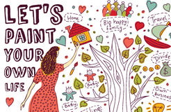 Pinte los sueños de la mujer del drenaje de la mano del arte de la vida libre illustration