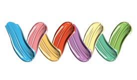Pinte manchas coloridas do respingo no fundo branco Beleza e conceito do curso do brusu da pintura dos cosméticos Elementos realí Fotografia de Stock