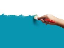 Pinte o azul com escova Fotografia de Stock