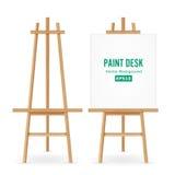 Pinte o vetor da mesa Livro Branco de Easel Set With do artista Isolado no fundo branco Pintor realístico Desk Blank Canvas no pa ilustração stock