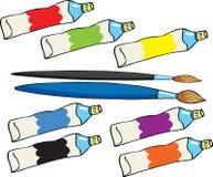 Pinte os tubos e as escovas ilustração royalty free