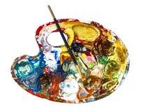 Pinte a paleta com escova de pintura Imagens de Stock Royalty Free