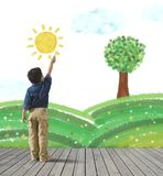 Pinte um panorama verde Fotografia de Stock Royalty Free