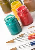 Pinte y aplique con brocha Imágenes de archivo libres de regalías