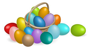 Pinted eggs basket illustration Royalty Free Stock Images