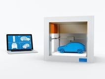 pinter 3d, imprimiendo el coche Imagenes de archivo