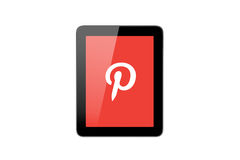 Pinteresrt Icon on Tablet Pc Royalty Free Stock Image
