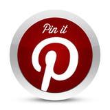 Pinterest -别住它按钮 库存照片