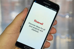 Pinterest application on android smartphone. Stock Photography
