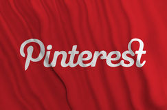 Pinterest flag. Red Pinterest flag weaving in air Royalty Free Stock Photography