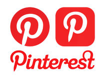 Pinterest logos printed on white paper Stock Photos