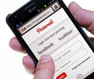 Pinterest. Palm Springs, California, USA - May 25. 2013: A smartphone displaying the Login page for the Android version of Pinterest, a content sharing service Stock Photo