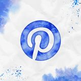 Pinterest watercolor icon. Authentic hand drawn style symbol. Likable watercolor symbol. Modern design for infographics or presentation royalty free illustration
