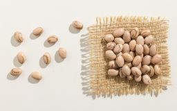 Pinto Bean legume. Close up of grains spreaded over white table. Phaseolus vulgaris is scientific name of Pinto Bean legume. Also known as Frijol Pinto and Royalty Free Stock Photo
