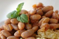 Pinto Bean Stew och mintkaramellsidor royaltyfri fotografi