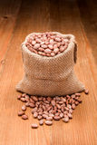 Pinto beans in burlap bag Stock Images