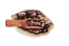 Pinto beans in burlap sack. Royalty Free Stock Photography