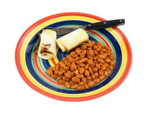 Pinto Beans Hot Chili Sauce Blintzes. A nice view of pinto beans with hot chili sauce and blintzes Royalty Free Stock Photos