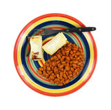 Pinto Beans Hot Chili Sauce Plate Fork Royalty Free Stock Images