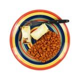 Pinto Beans Hot Chili Sauce-Platten-Gabel Lizenzfreie Stockbilder