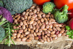 Pinto beans and vegatables Stock Photos