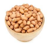Pinto beans on wood cup isolated Royalty Free Stock Photography