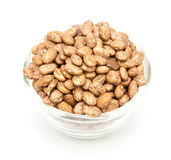 Pinto beans on wood cup isolated Royalty Free Stock Photo