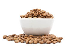 Pinto beans on wood cup isolated Royalty Free Stock Image