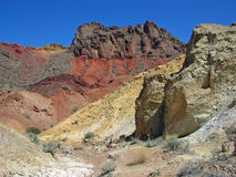 Pinto Valley near Lake Mead Nevada show colorful geologic formations. Good example of colorful, eroded, geologic formations formed from mud stone and volcanic Royalty Free Stock Photography