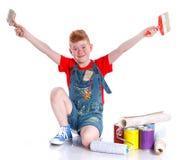 Pintor considerável do menino Imagem de Stock Royalty Free