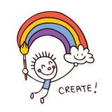 Pintor criativo da criança Imagens de Stock Royalty Free