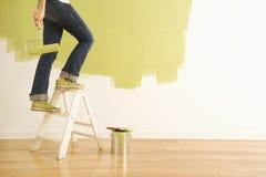 Pintor da mulher na escada. imagens de stock