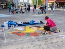 Pintor da rua no trabalho Fotografia de Stock Royalty Free