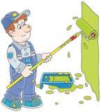 Pintor de casa com um rolo da cor Fotos de Stock