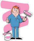 Pintor de casa dos desenhos animados Fotografia de Stock Royalty Free