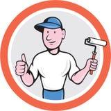 Pintor de casa Paint Roller Thumbs acima dos desenhos animados ilustração royalty free
