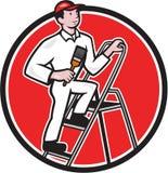 Pintor de casa Paintbrush em desenhos animados da escada ilustração stock
