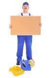 Pintor de casa que mostra o corkboard vazio Imagens de Stock Royalty Free