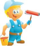 Pintor de casas con el rodillo y el cubo Imagen de archivo libre de regalías